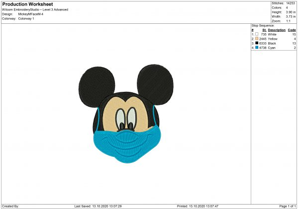 Mickey Mouse Face Mask Embroidery design