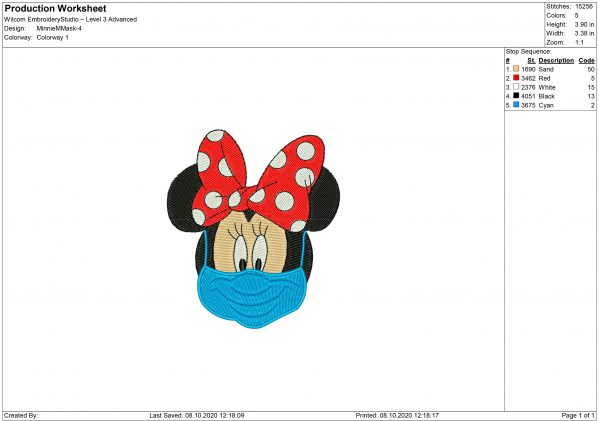 Minnie Mouse Face Mask Embroidery design
