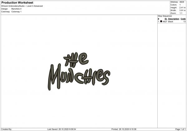 The Munchies Embroidery design