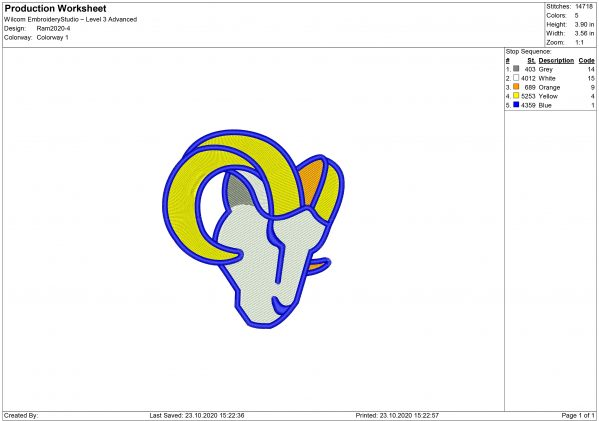 New Los Angeles Rams embroidery design