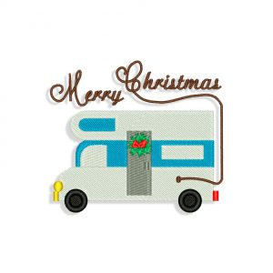 Merry Christmas Motorhome Embroidery design