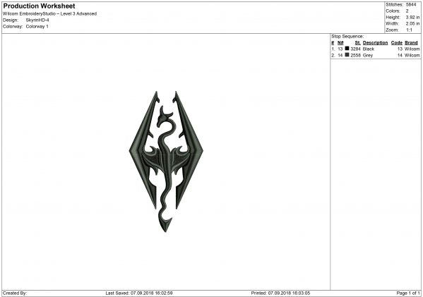 Skyrim Embroidery design
