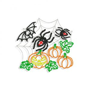 Spiders and Pumpkins Embroidery design