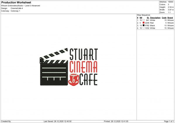 Cinema Cafe Embroidery design