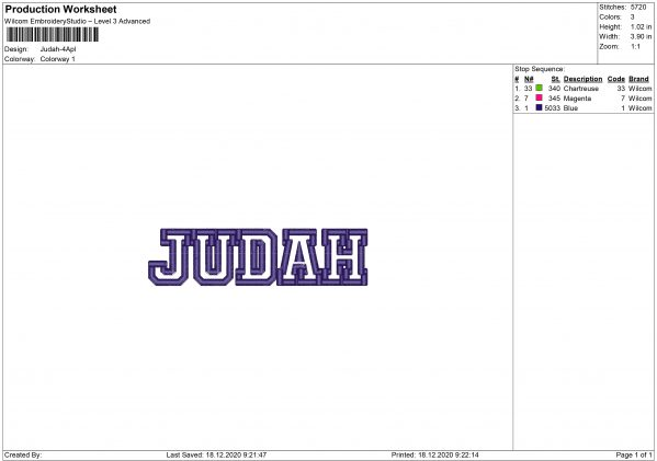 Judah Embroidery design