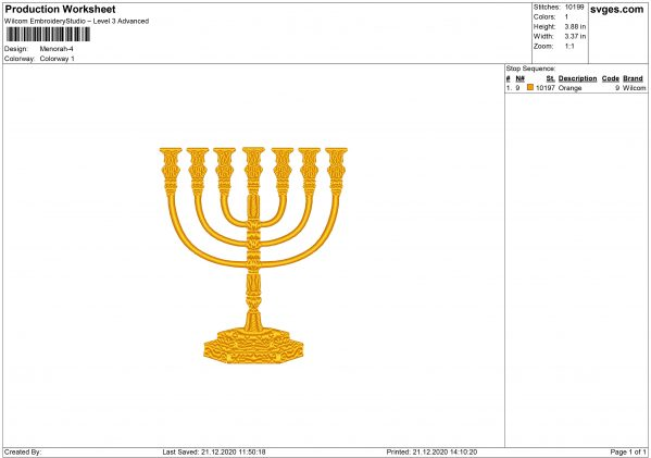 Menorah Embroidery design