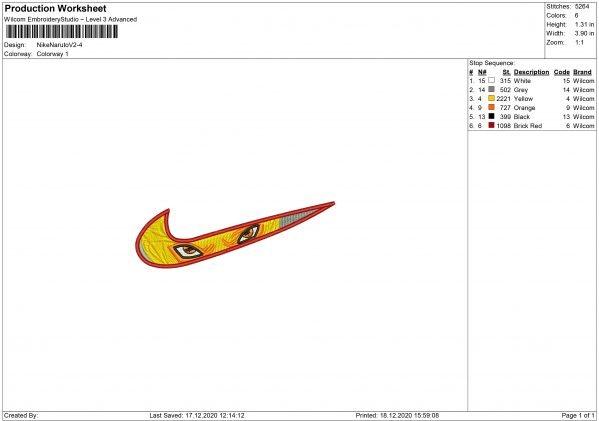 Nike Naruto Embroidery design