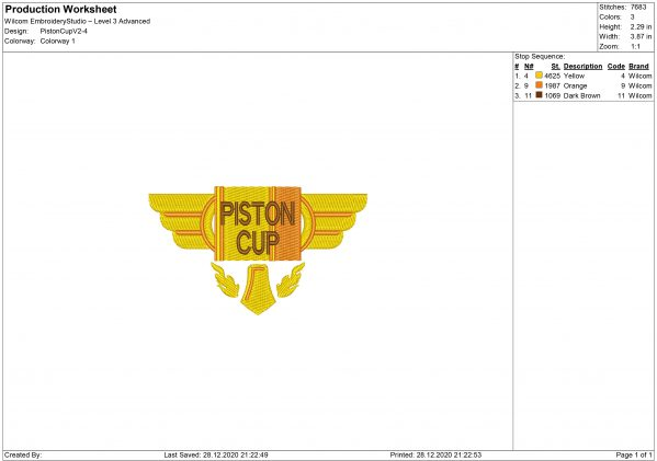 Piston Cup Embroidery design