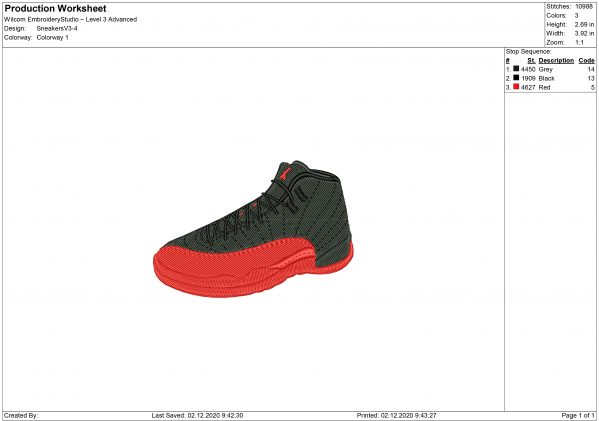 Sneakers Embroidery design and applique files
