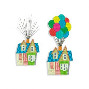 House Flying With Balloons Embroidery design