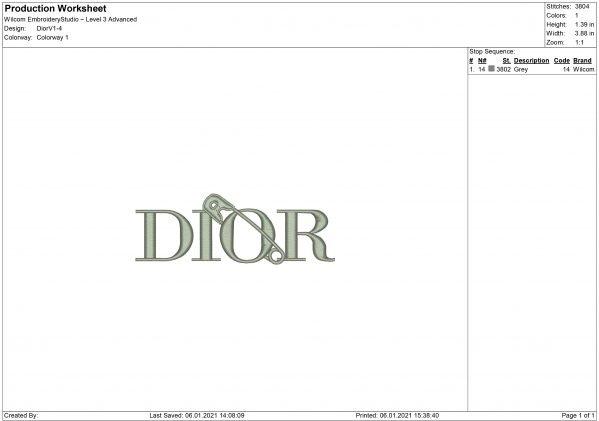 Dior Embroidery design