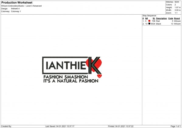 Ianthie K Embroidery design