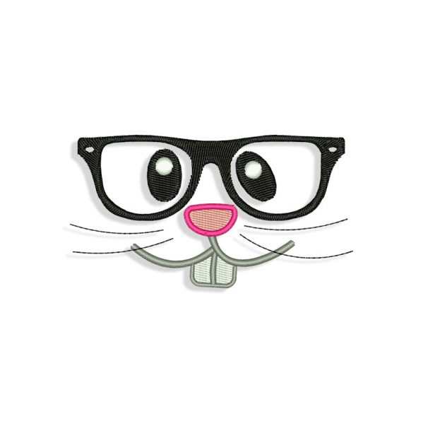 Bunnie Face Hipster Embroidery design