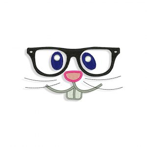 Bunny Face in Hipster Glasses Embroidery design