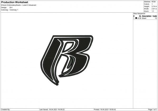 B Logo Embroidery design
