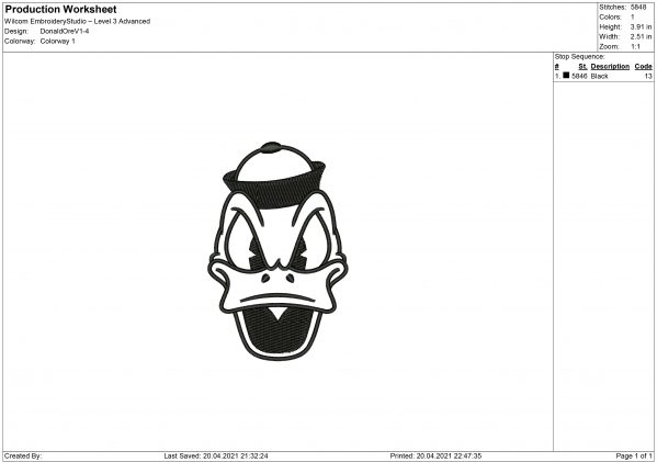 Donald Duck Embroidery design files