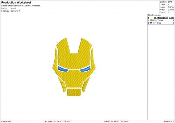 Iron Man helmet Embroidery design