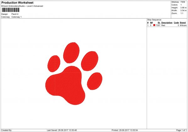Cat Pawprint Embroidery design