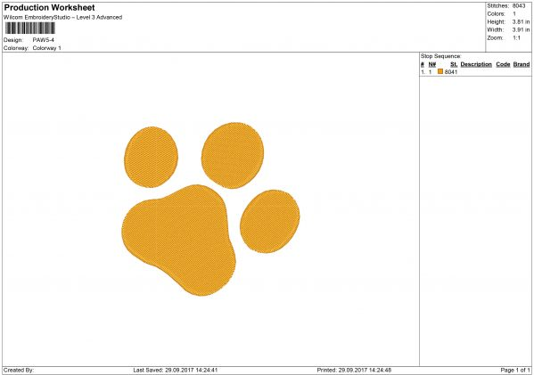 Pawprint Embroidery design