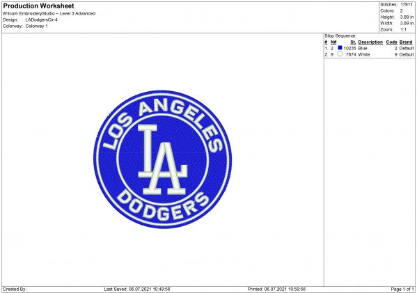 Dodgers Embroidery design