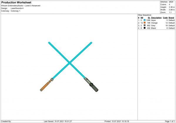Laser Swords Embroidery design