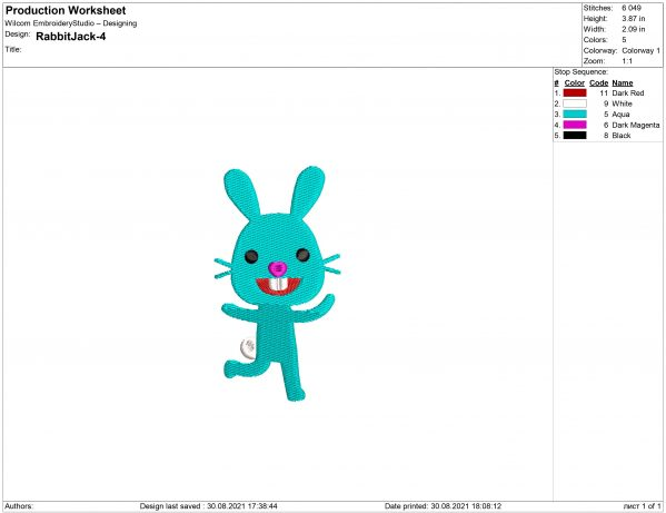 Jack The Rabbit Embroidery design
