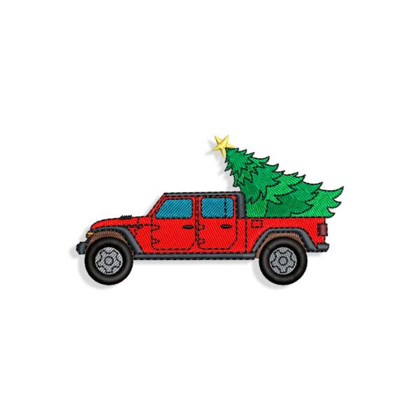 Christmas Tree Truck Embroidery