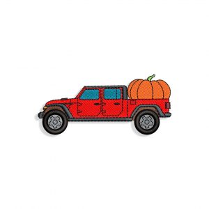 Red Halloween Pickup Truck Embroidery design