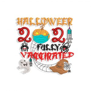Vaccinated Halloween Embroidery desig